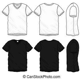 t-shirt, konstruktion, skabelon, v-neck, sort, hvid