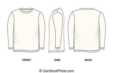 t-shirt, lang-ärmel, schablone
