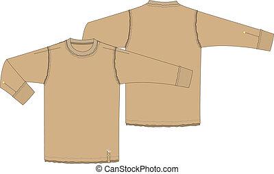 t-shirt, lange hülse, mens