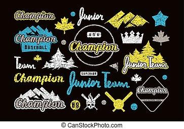 t-shirt, lettrage, ensemble, éléments