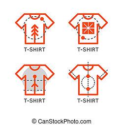 T-shirt logo set. Online shop logo. Clothing shop  icon. T-shirt outline design. Online store icon.