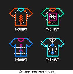 T-shirt logo set. Online shop logo. Clothing shop vector icon. T-shirt outline design. Online store icon.