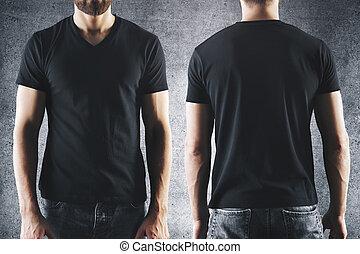 t-shirt, mâle, noir, vide
