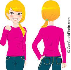 t-shirt, m�dchen, blond