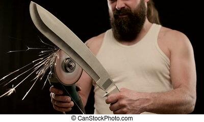 t-shirt, machete., homme, noir, affiler, barbe, closeup, ...