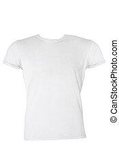 t-shirt, macho branco, em branco