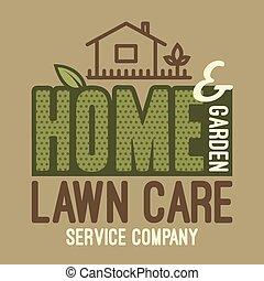 t-shirt, maison, pelouse, jardin, soin