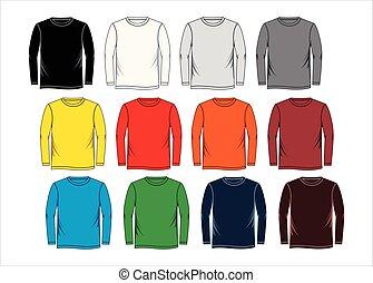 t-shirt, mal, lange mouw