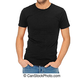 t-shirt, man, black , leeg