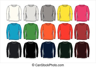 t-shirt, manga longa, modelos, coloridos