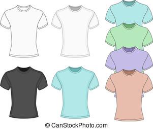 t-shirt, manica, uomini, corto