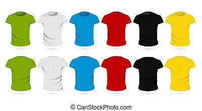 t-shirt, manlig, färgrik
