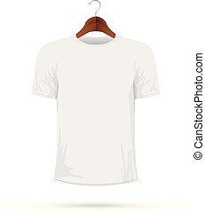 t-shirt, manteau, blanc, cintre