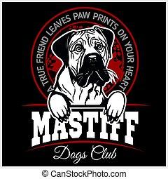 t-shirt, mastiff, -, illustration, vecteur, gabarit, logo,...