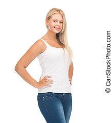 t-shirt, meisje, witte , tiener, leeg