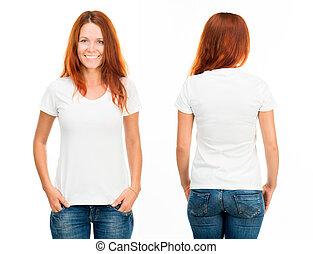 t-shirt, menina, branca