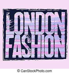 t-shirt, miasto, londyn, typografia