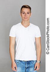 t-shirt, mignon, blanc, adolescent