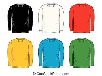 t-shirt, modelo, longo-manga, vetorial