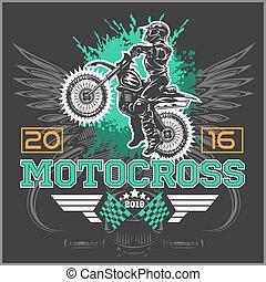 t-shirt, motocross., emblema, extremo, design.