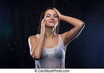 t-shirt, mulher, cabelo, tocar, molhados, branca