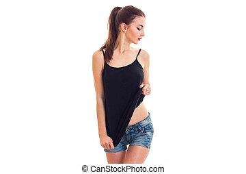 t-shirt, mulher, lado, olhar, sem, pretas, bonito, soutien