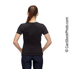t-shirt, mulher, pretas, em branco