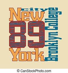 t-shirt, nieuw, brooklyn, york
