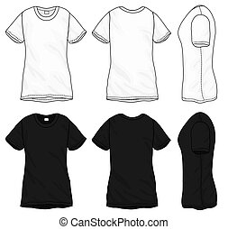 t-shirt, noir, blanc, conception, gabarit