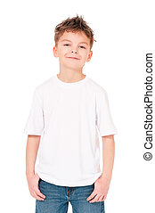 T-shirt on boy - White T-shirt on a cute boy, isolated on...