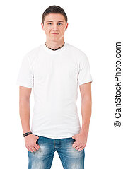 T-shirt on man - White T-shirt on a young man, isolated on...