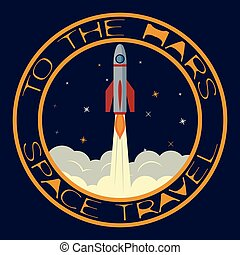 T-shirt on the space theme. Space travel. To the mars.