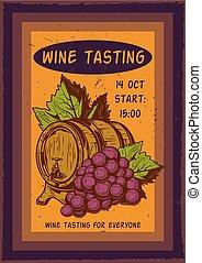 illustraion of grapes and a barrel.
