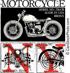 T-shirt or poster design with illustration of a motorcycle.