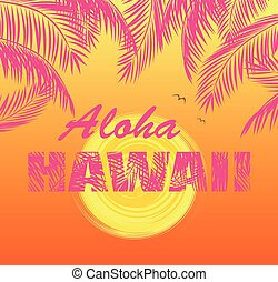 T shirt orange print with hot pink palm leaves, Aloha Hawaii...