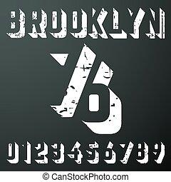 t-shirt, ouderwetse , brooklyn, getallen, postzegel