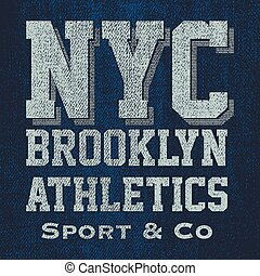 t-shirt, ouderwetse , brooklyn, typografie, grafiek