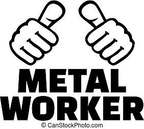 t-shirt, ouvrier, métal, thumbs., design.