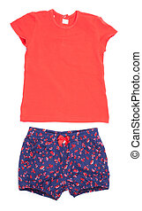 t-shirt, padrão, crianças, shorts, branca, roxo, vermelho, isole, set.