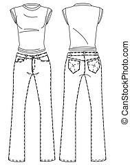 t-shirt, pantaloni