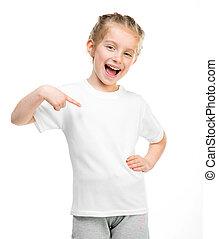 t-shirt, pequeno, branca, menina