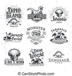 t-shirt, periodo, disegno, tema, labels., vettore, tesserati magnetici, triceratops, set., illustrazione, sicurezza, insegne, logotipo, giurassico, template., concept., raptors, grande, dinosauro, vendemmia, parco
