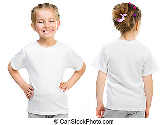 t-shirt, peu, blanc, girl