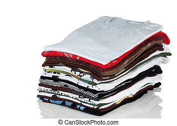 t-shirt, pilha, roupas
