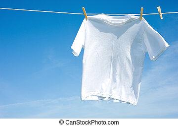 t-shirt, planície, branca, varal