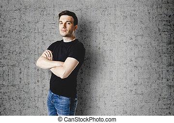 t-shirt, pretas, casual, homem