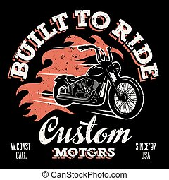 T shirt print 032 - Classic chopper motorcycle with fire...