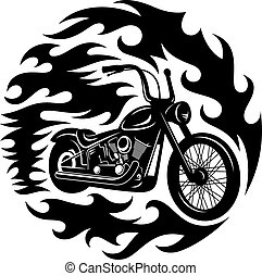 Classic chopper motorcycle with spurts of flame. T-shirt print graphics