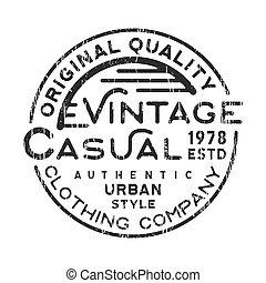 Casual vintage stamp - T-shirt print design. Casual vintage...