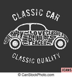 Classic car vintage stamp